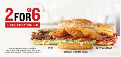 Arby's 2 for $6 Everyday Value Deals