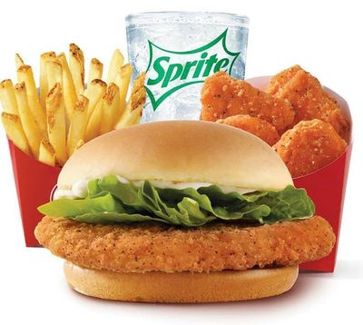 Save with $5 Biggie Bag Meal: Crispy Chicken Sandwich, 10 Piece Chicken Nuggets, Fries and Drink Available at Select Wendy's