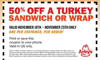 Enter Sweepstakes to Win an Arby's Deep Fried Turkey Pillow and Immediately Get a 50% Off Coupon for an Arby's Turkey Sandwich or Wrap