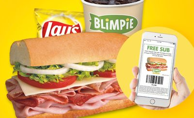 Join the Blimpi-E-Club and Receive a Coupon for a Free Regular Sub with a Sub and Drink Purchase