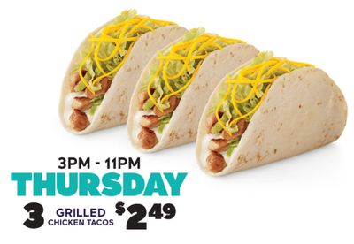 Receive 3 Grilled Chicken Tacos for $2.49 Every Thursday from 3 to 11 pm at Del Taco
