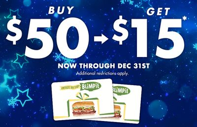 Buy a $50 Blimpie Gift Card and Receive a $15 Blimpie Bonus E-Card for Free Through to December 31