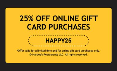 25% Off Online Gift Card Purchases of $20 or More with Promo Code at Carl's Jr. and Hardee's: Cyber Monday Only