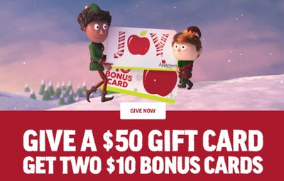 Cyber Monday Only: Buy a $50 Applebee's Gift Card Online and Get 2 Free $10 Bonus Cards