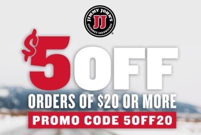 Get $5 Off Online or In-App Orders of $20 or More with New Promo Code at Jimmy John's