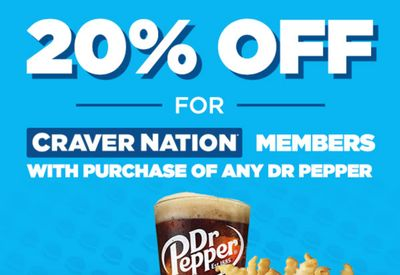 White Castle Craver Nation Members will Receive 20% Off with the In-App Purchase of Any Dr. Pepper Beverage