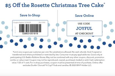 BR Email Members, Check Your Inbox for a Baskin-Robbins Coupon Offering $5 Off a Rosette Christmas Tree Cake
