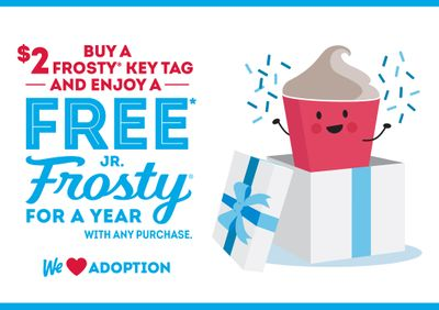 Get a Year of Free Jr. Frosties with Purchase and Support the Dave Thomas Foundation with $2 Frosty Key Tags at Wendy's