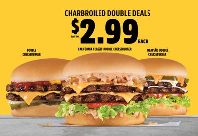 Carl's Jr. Announces their New $2.99 Charbroiled Double Deals Menu with the California Classic Double Cheeseburger & More