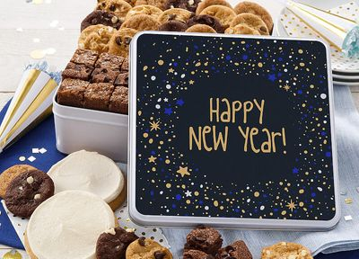Happy New Year's Cookie Tins and Cookie Cakes Arrive at Mrs. Fields for a Limited Time