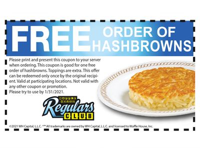 Waffle House Has Just Sent Out a New Free Hashbrown Coupon to All Regulars Club Members