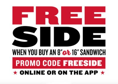 Get a Free Side With an 8 or 16 Inch Sandwich Purchase Using a New Promo Code Online at Jimmy John's