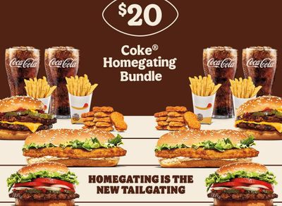 Get a $5 Off Coupon When You Purchase the $20 Coke Homegating Bundle Online or In-app from Burger King