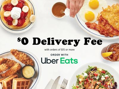Through to April 11, Get a $0 Delivery Fee on your $15+ IHOP Order Using Uber Eats