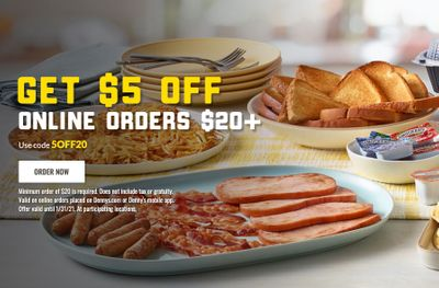 Get $5 Off Your Next Online or In-app Denny's Order of $20 or More Through to January 31