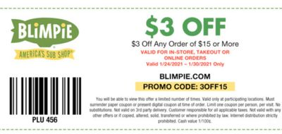 Blimpie's EClub Members Check Your Inbox for a $3 Off Coupon & Promo Code Valid Through to January 30