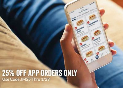On January 29 Jersey Mike's Subs Offers 25% Off In-app Orders with a New Promo Code