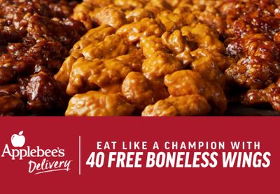 February 7 Only: Get 40 Free Boneless Wings with Every $40+ Online or In-app Order at Applebee's