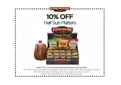Firehouse Subs Rewards Members Check Your Inbox to Receive 10% Off Your Next In-store Half Platter Purchase