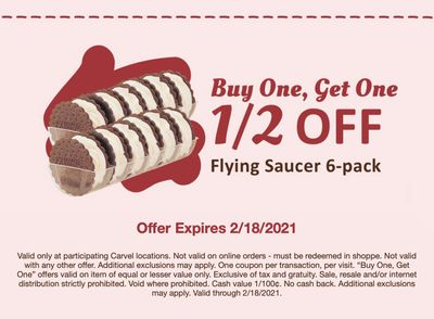 Fudgie Fanatics, Check Your Inbox for a New Buy One Get One Half Off Flying Saucer Coupon at Carvel