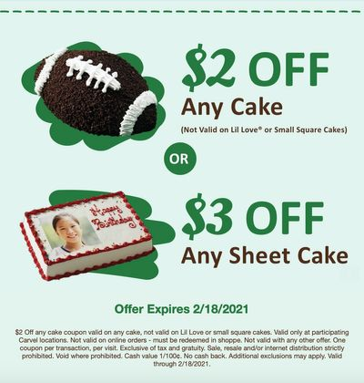 Receive $2 Off a Carvel Cake or $3 Off a Carvel Sheet Cake Through to February 18 with a New Carvel Coupon
