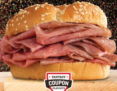 Arby's Emails eClub Members a Free Roast Beef Sandwich with Purchase Offer to Conclude the Fantasy Coupon Playoffs