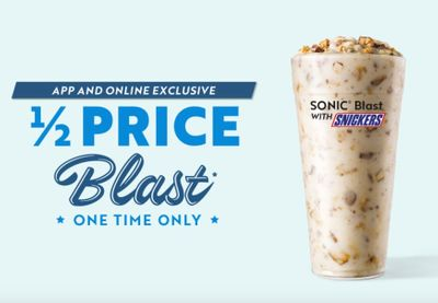 Sonic Rewards Members Can Now Receive a Half Priced Sonic Blast with Snickers through an Online or In-app Order