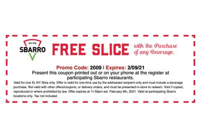 Slice Society Members Check Your Inbox: Get a Free XL NY Slice with Drink Purchase from Sbarro Pizza with a New Coupon