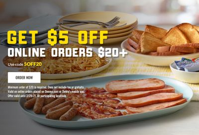 Get $5 Off Your Next Online or In-app $20+ Order at Denny's: Now Extended Through to February 28