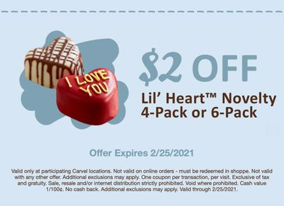 Get $2 Off a Novelty 4 or 6-Pack of Lil' Hearts at Carvel Through to February 25 with a New Coupon
