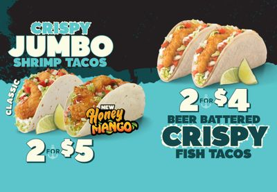 New 2 for $5 Crispy Jumbo Shrimp Tacos and 2 for $4 Beer Battered Crispy Fish Tacos Arrive at Del Taco
