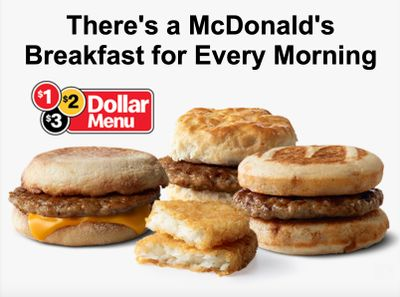 Save on Breakfast with the $1 $2 $3 Dollar Menu at McDonald's