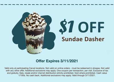 Fudgie Fanatics Check Your Inbox to Save $1 Off Your Next Sundae Dasher at Carvel
