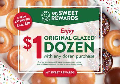 Buy 1 Dozen and Get a Second Original Glazed Dozen for $1 at Krispy Kreme with a New Rewards Member-Exclusive Deal