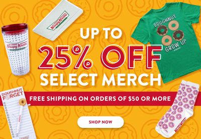 Save Up to 25% Off Select Krispy Kreme Online Merch with Free Shipping on $50+ Orders
