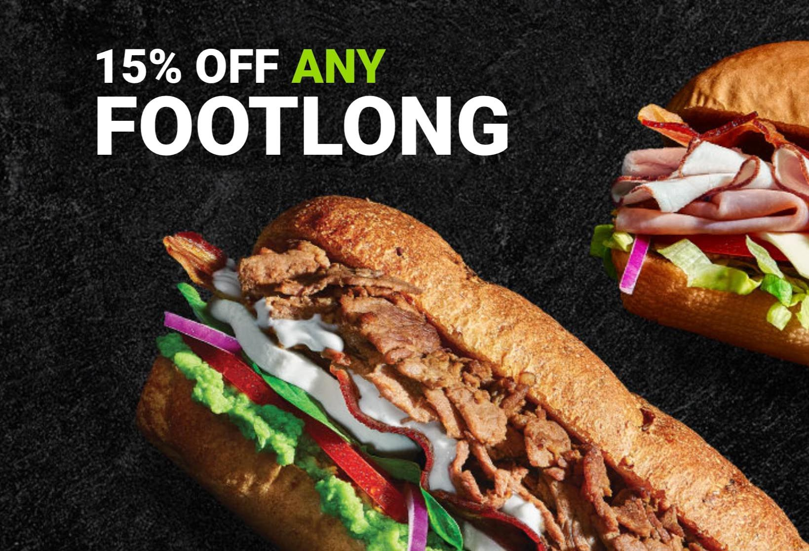 Save 15% Off Any Subway Footlong with an Online or In-app Order