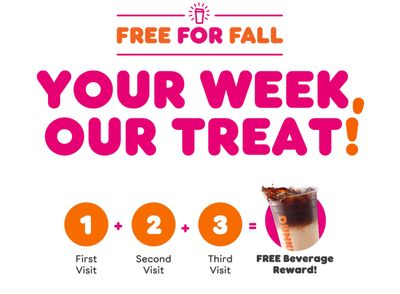 DD Perks Members Can Earn a Free Drink with 3 Qualifying Purchases in a Week at Dunkin' Donuts Through to October 3
