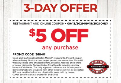Rotisserie Rewards Members Check Your Inbox: Get $5 Off a $10+ Online or In-restaurant Purchase