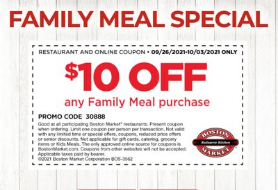 Rotisserie Rewards Members Get $10 Off Any Family Meal at Boston Market with a New Email Coupon
