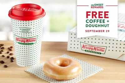 Rewards Members will Receive a Free Coffee and Doughnut In-shop at Krispy Kreme on National Coffee Day