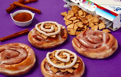 Krispy Kreme is Serving Up their New Cinnamon Toast Crunch Cinnamon Roll for a Short Time