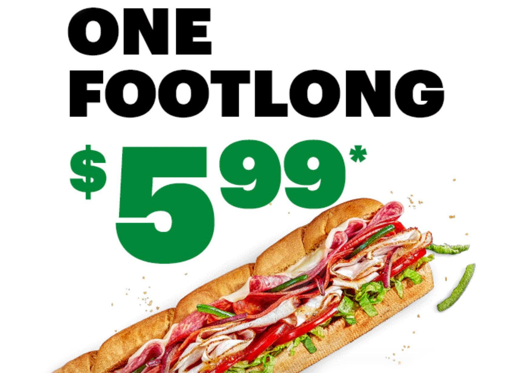MyWay Rewards Members Can Get a $5.99 Footlong to Celebrate Footlong Friday with an Online or In-app Subway Order